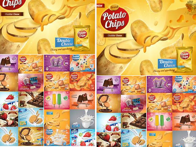 21 تصميم فيكتور لمنتجات البطاطس الشبسى والشيكولاتة واللبن