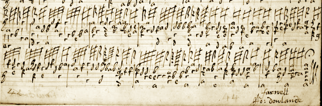 Image of Matthew Holmes' MS of the lute original of Dowland's Farwell