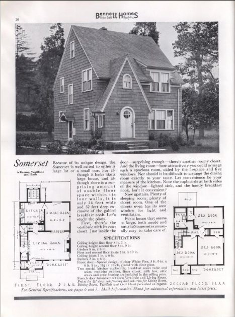 house and floor plan 1937 catalog image Bennett Homes Somerset