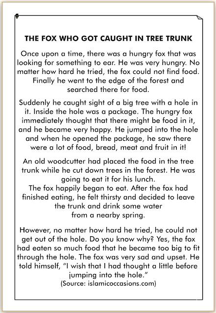 cerita binatang rubah dalam bahasa inggris