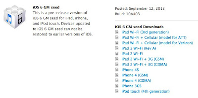 Apple iOS 6 Gold Master (GM)
