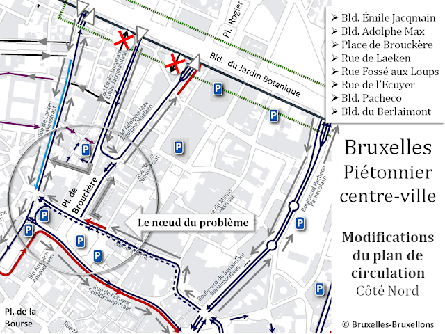 Bruxelles - Piétonnier du centre-ville - Accès côté nord - Modification du plan de circulation 2016 - Bruxelles-Bruxellons