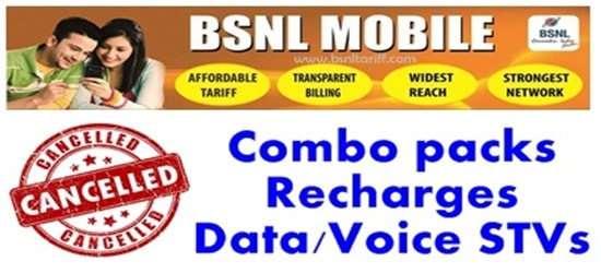BSNL withdrawn STVs packs and prepaid vouchers