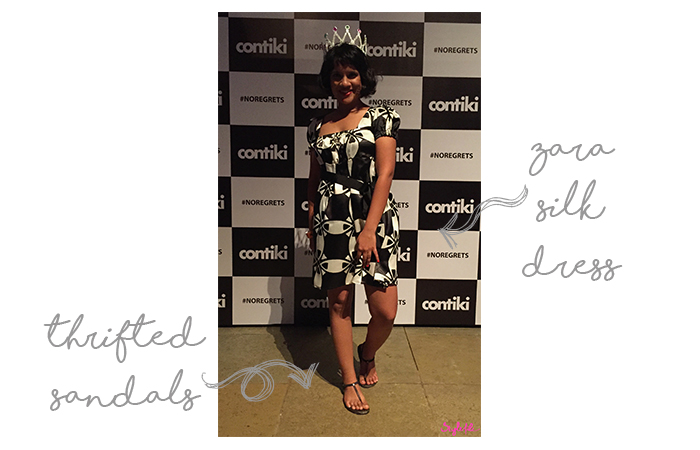 Dayle Pereira blogger at Style File wore a silk printed dress and thong sandals to a launch party