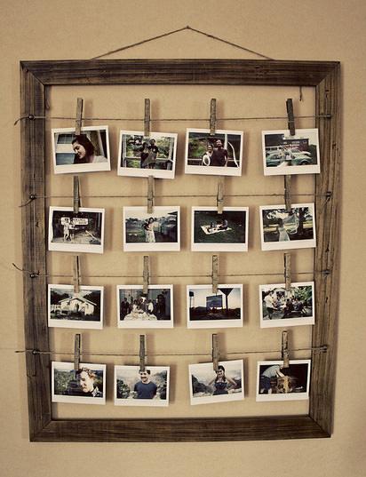 Cornice portafotografie in legno e spago