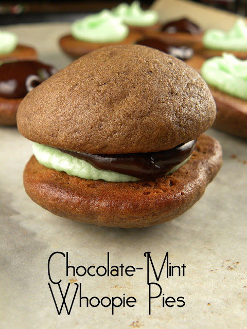 Chocolate Mint Whoopie Pies | sweetpeasandsaffron.com