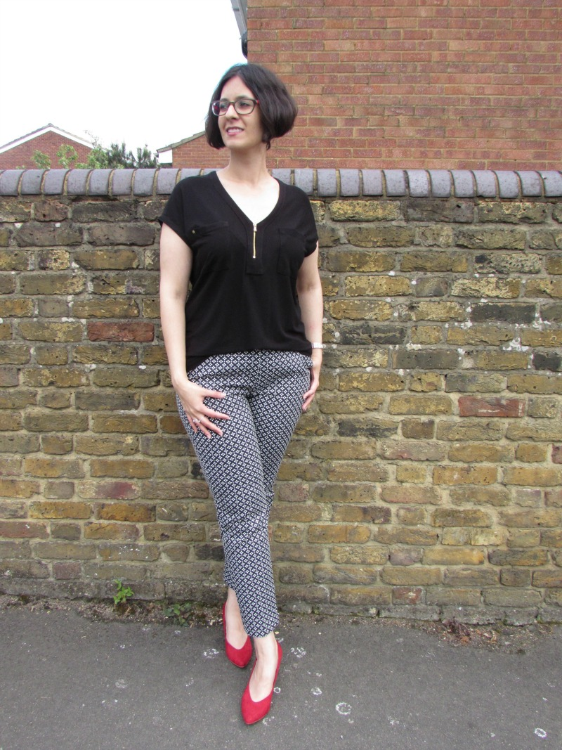 black top, cigarette trousers