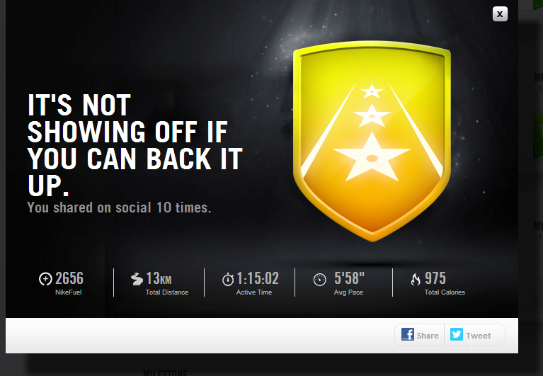 meet 8100f 469e9 You will have to share your Nike+ activity over 10 times to earn it.