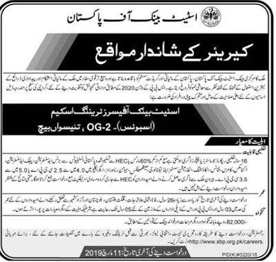 State Bank Of Pakistan Latest Jobs For Post OG-2 For Office Training Scheme | Apply Now