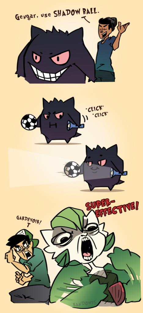 Genius pokemon comic about Gengar using Shadow Ball