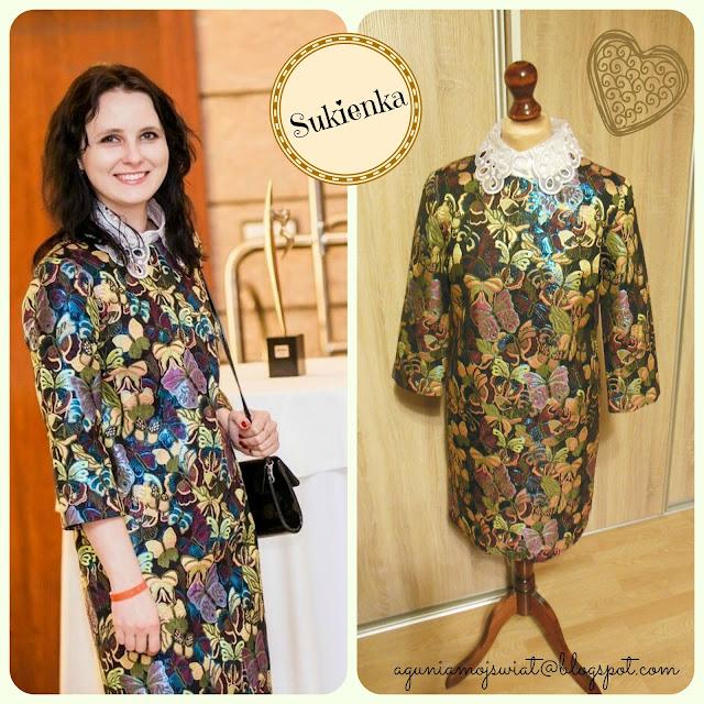 Sukienka w motyle uszyta z błyszczącej tafty tkanina z Aliexpress
