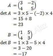 Menentukan determinan matriks A dan matriks B