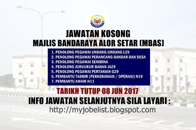 Jawatan Kosong Majlis Bandaraya Alor Setar (MBAS) Jun 2017