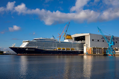 Saga Cruises Spirit of Discovery floated out of Meyer Werft's Covered Drydock seeing the sun for the first time.