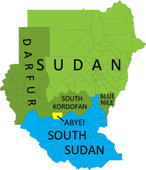 Map of current administrative areas of the former Sudan, distinguishing South Sudan, Sudan (plus areas with active rebellions), and the disputed Abyei area, which is jointly administered and policed by U.N. peacekeepers.