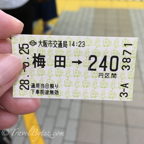 The single ticket cost us 240¥ each