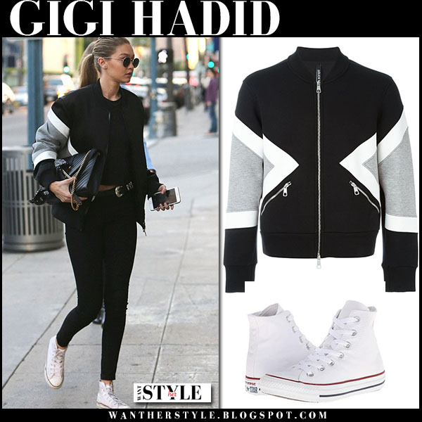 Gigi Hadid in black jersey bomber neil barrett jacket and white canvas converse sneakers model style what she wore