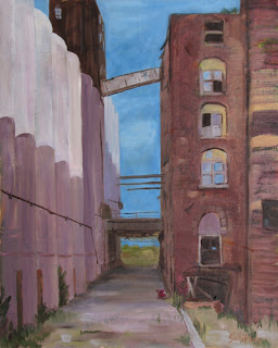Infrastructure, abandoned building, rust painting