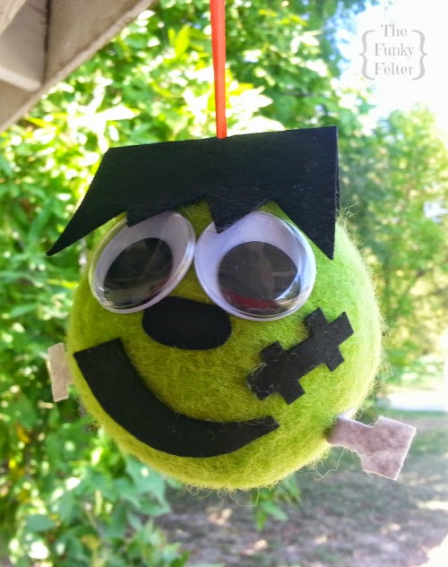 how to make a giant felted wool ball halloween frankenstein craft tutorial