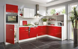 cocina gris rojo