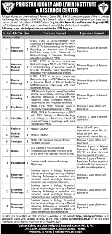 Pakistan Kidney and Liver Institute and Research Centre Madical Jobs