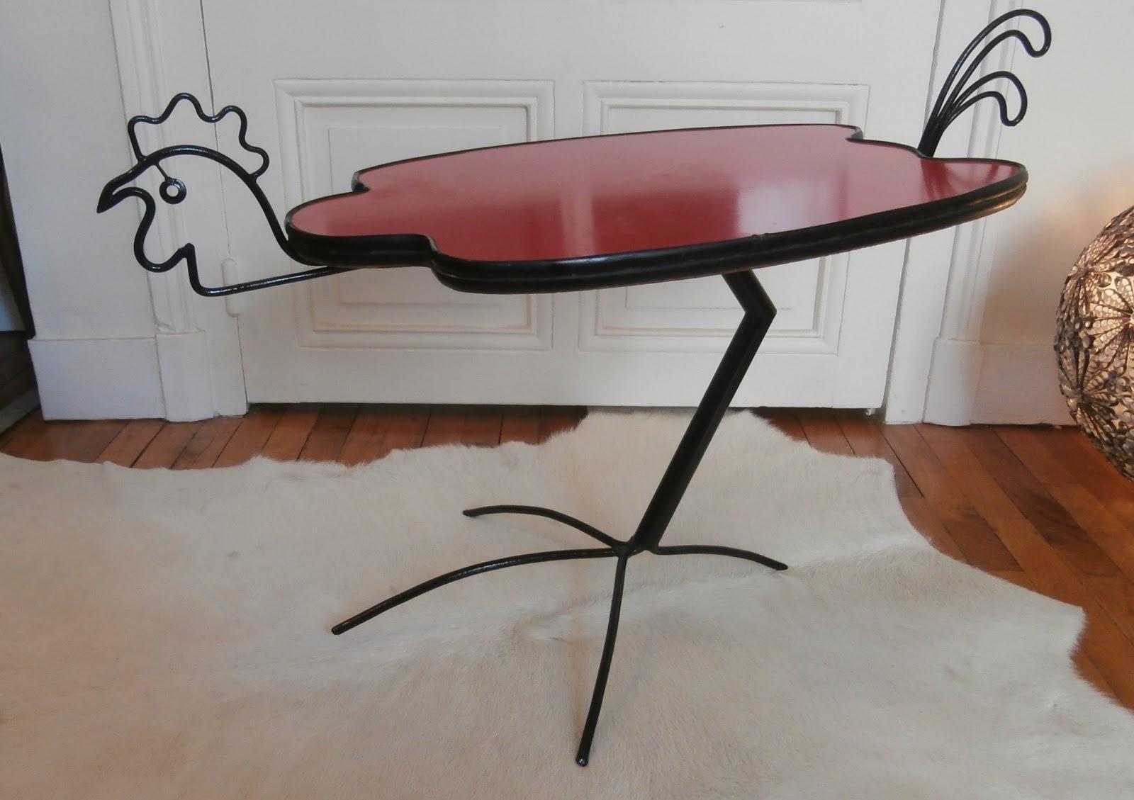 Table Basse En Formica durée de vie indéterminée: table basse poule en formica rouge