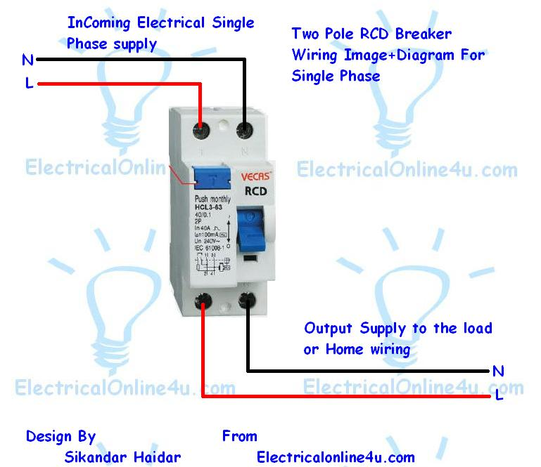 how to do 2 pole fixed rcd wiring for protection