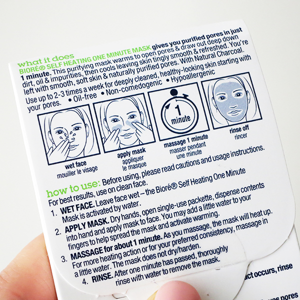 Biore Self Heating One Minute Mask instructions