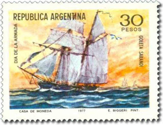 Clipper Sarandí, Argentine Navy (stamp)