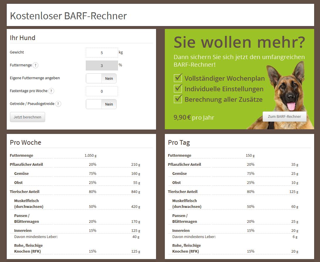 fettrechner barf