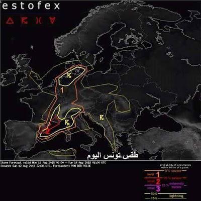 عاجل/ المركز الأوروبي لرصد العواصف الرعدية يرصد عاصفة قوية بعد ظهر اليوم في هذه المناطق !