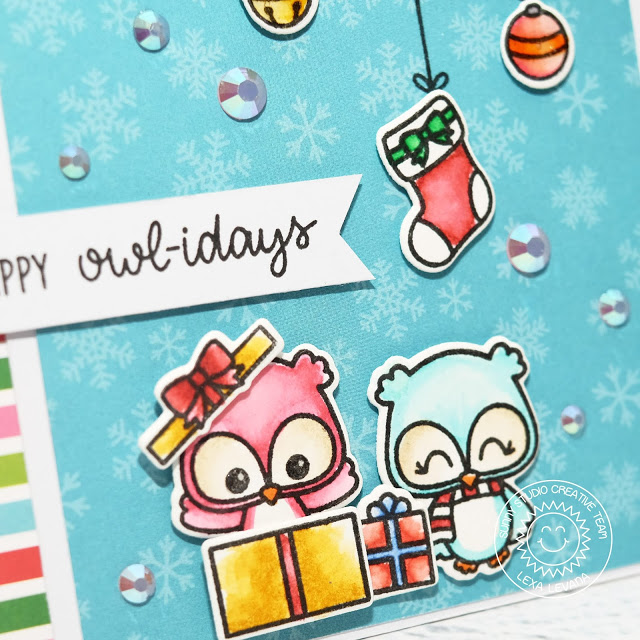 Sunny Studio Stamps: Happy Owlidays Holiday Cheer Paper Pad Punny Holiday Card by Lexa Levana