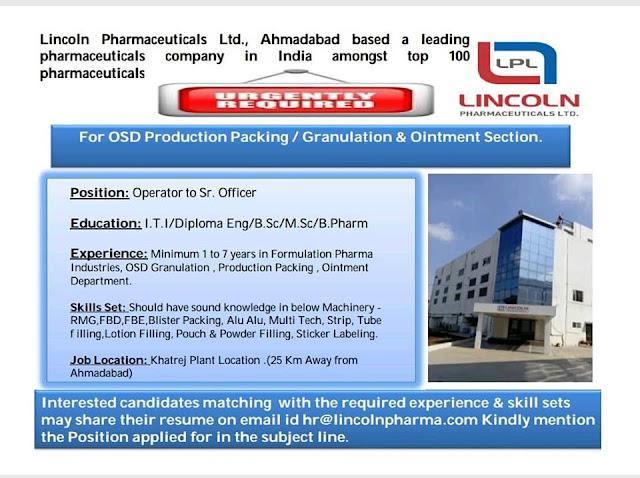 Lincoln Pharmaceutical Walk In Interview for Multiple Positions ITI, Diploma, B.Sc, M.Sc, B.Pharm, M.Pharm,