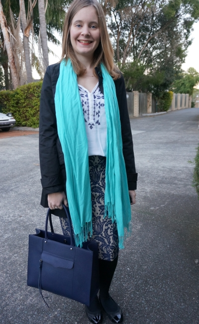 Turquoise pashmina navy white embroidered tunic lace pencil skirt officewear