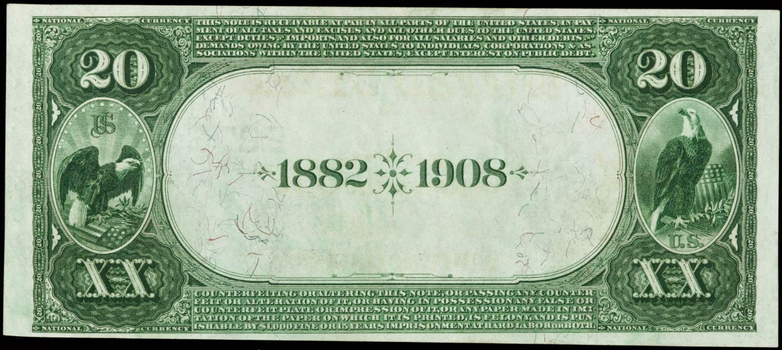 1882 Twenty Dollar Bill Date Back National Currency banknote
