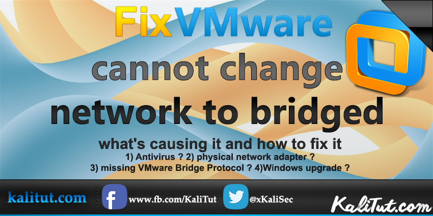 vmware cannot change network to bridged - KaliTut