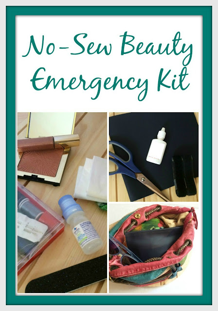 Don't leave home without your beauty emergency kit. You can even make your own...no sewing required!