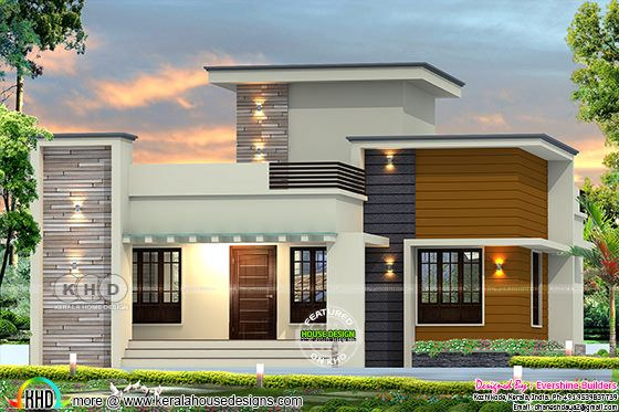 1861 square feet 2 bedroom flat roof home plan