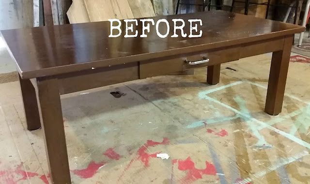 coffee table transformation, fusion mineral paint, pallets, before and after, minwax, http://goo.gl/hf68fG