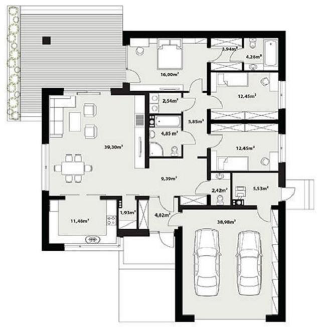 Plano de casa minimalista de 170 m2 planos de casas for Casa minimalista planos