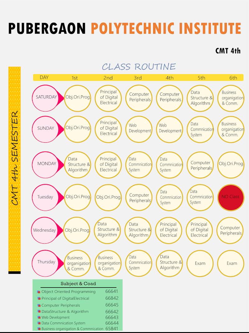 pubergaon polytechnic institute | class routine | Computer 4th semester
