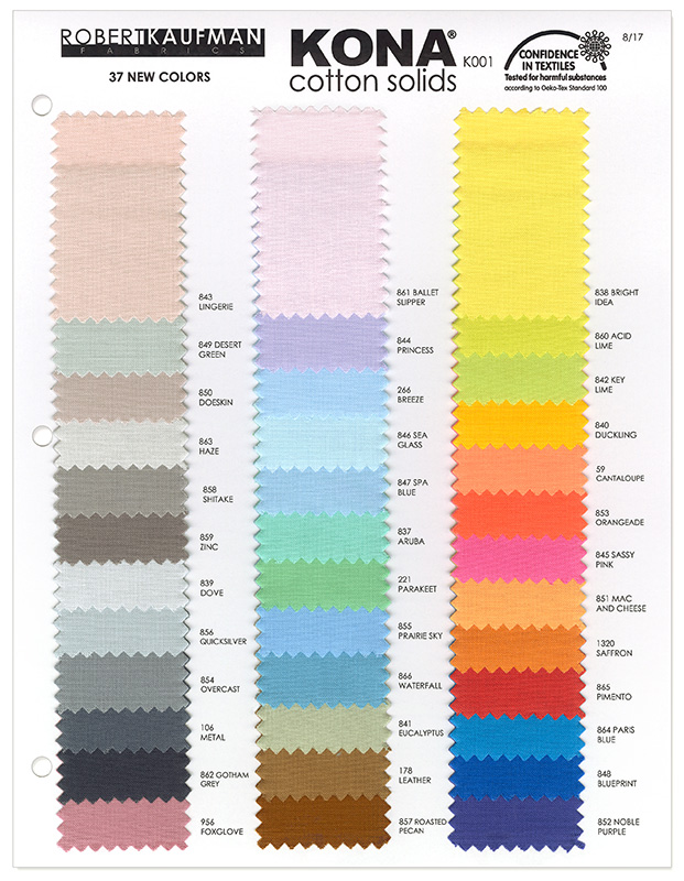 Robert Kaufman Kona Cotton - Add-on color card | 2017