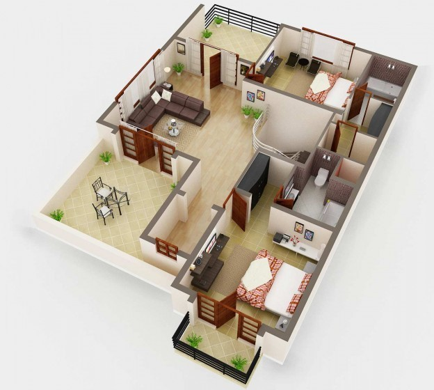 3D Floor Plan Rendering  Painting 6