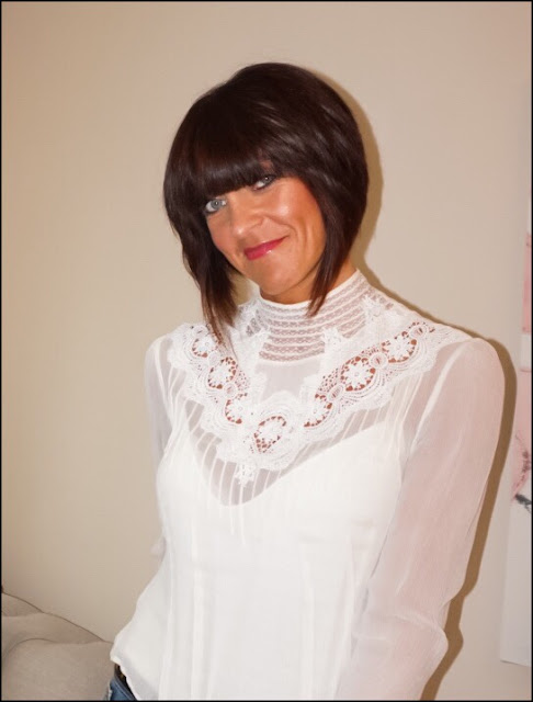 My Midlife Fashion, Laura Ashley High Neck Lace Bib Silk Blouse