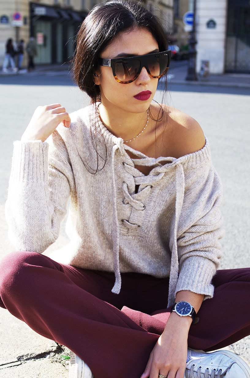 Elizabeth l Beige burgundy fall outfit l Pull lacet Zara H&M l THEDEETSONE l http://thedeetsone.blogspot.fr
