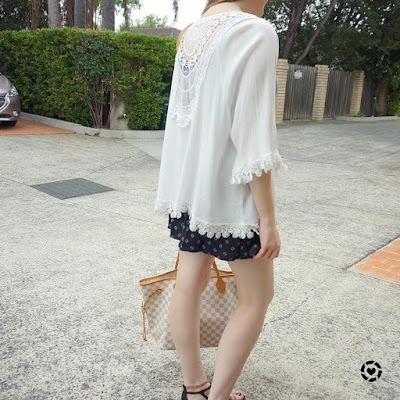 awayfromblue instagram detail shot of Shein lace trimmed crochet inset white kimono
