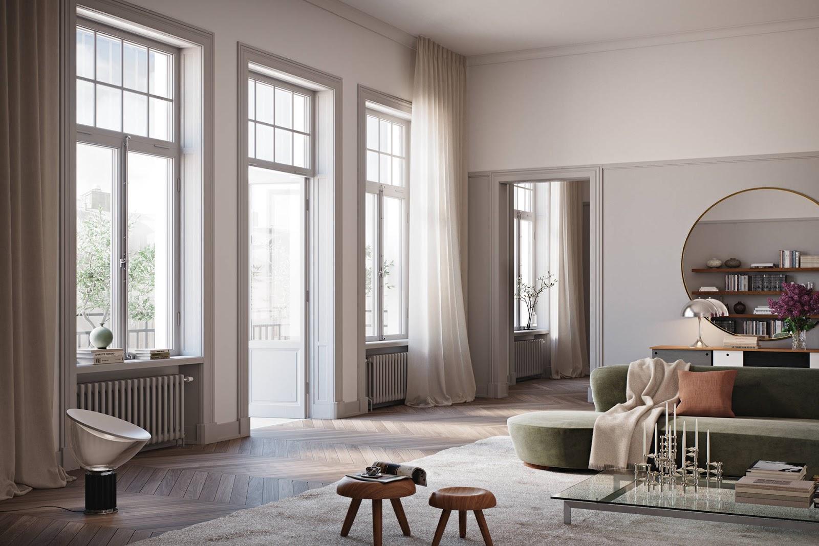 tiny scandinavian apartment, pantone lamp, nagel candlestick, elegant interior design