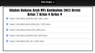 Silabus Bahasa Arab MTs Kurikulum 2013