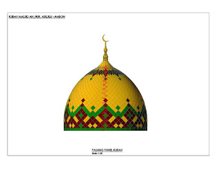 atap kubah enamel teflon powdercoating masjid annur asilulu ambon bahan ukuran bentuk model warna panel kotak-kotak keramik grc cat awet anti pudar harga murah pengrajin seluruh indonesia