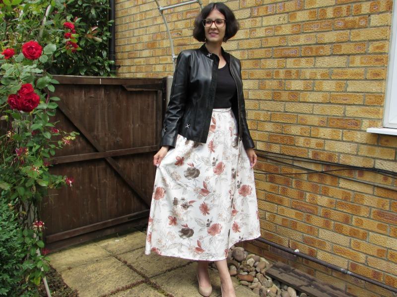 Maxi skirt and biker jacket
